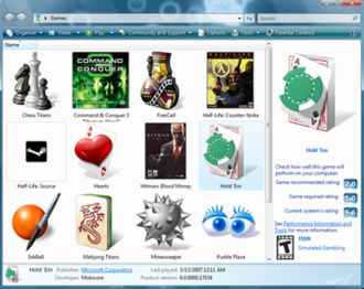Games for Windows - Games Explorer on Windows Vista showing information for the Hold 'Em poker game, including performance and content ratings.