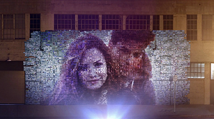 Give Your Heart a Break - A collage of a photo of Lovato and on-screen love interest (Alex Bechet), created from other smaller images of the pair.