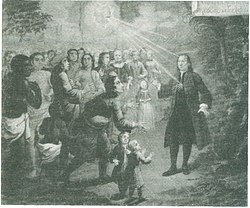 Zinzendorf preaching to people from many nations (Source: Wikimedia)