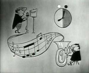 "Hancock's Half Hour - Titlescreen of the 1957 series 2 TV episode ""The Alpine Holiday"", featuring a diagramatic illustration of the show's title; the ""Hancock"" musical motif (composed by Wally Stott), a cartoon of the tuba player, Tony Hancock reading the script and a broadcast clock showing the start and length of the episode."