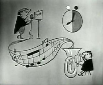 """Hancock's Half Hour - Titlescreen of the 1957 series 2 TV episode """"The Alpine Holiday"""", featuring a diagramatic illustration of the show's title; the """"Hancock"""" musical motif (composed by Wally Stott), a cartoon of the tuba player, Tony Hancock reading the script and a broadcast clock showing the start and length of the episode."""