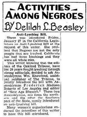 Delilah L. Beasley - Oakland Tribune, February 12, 1933