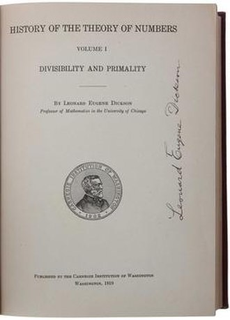 History of the Theory of Numbers - Cover of the first edition