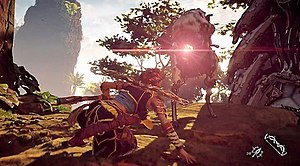 Horizon Zero Dawn - Aloy using her spear in combat against a Watcher, one of the many robotic creatures found in the game.