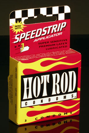 Photograph showing a retail box of Hot Rod Condoms
