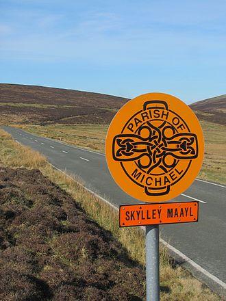 Brandywell, Isle of Man - B10 Beinn-y-Phott Road looking towards Brandywell, Slieau Dhoo mountain and Mount Karin.