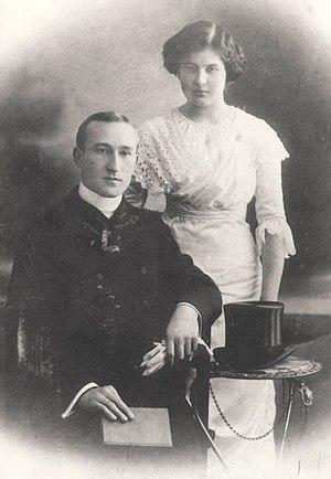 Western Ukrainian clergy - A Ukrainian Catholic priest, Ihnatiy Tsehelsky, and his bride