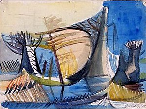 Birmingham Surrealists - John Melville, Landscape (1937), watercolour and conte chalk on paper