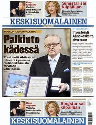 Keskisuomalainen - Image: Keskisuomalainen Front Page