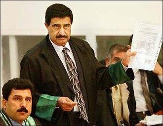 Khamis al-Obeidi - Khamis al-Obeidi during a court session