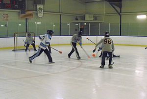 Broomball - Game action.