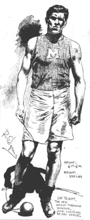 Lee Talbott - Lee Talbott in a sketch by Robert Edgren, 1907.