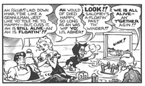 "Li'l Abner - ""But, cuss it, Ah is still alive!!"" Li'l Abner, Daisy Mae, Mammy, Salomey and Pappy survive another narrow scrape in this strip excerpt from March 29, 1947."