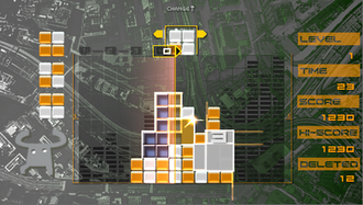 Lumines - Screenshot from the game, with the Roundabout theme selected.