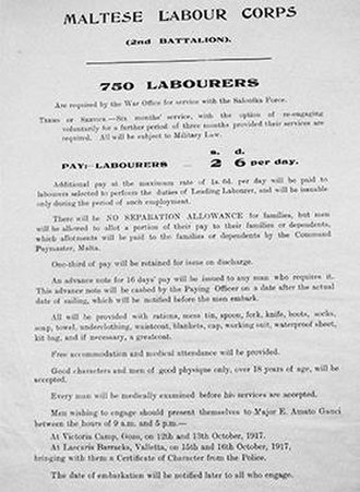 Maltese Labour Corps - October 1917 poster calling for recruits to form the 2nd battalion