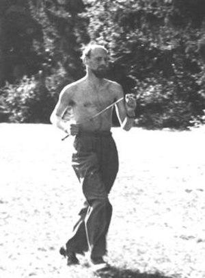 Mirin Dajo - Promotional photo showing Mirin Dajo jogging with a rapier through his abdomen.