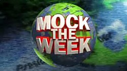 "White 3D writing over globe reads ""Mock the Week""."