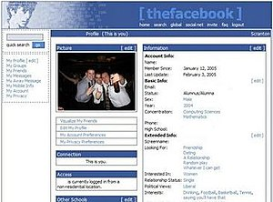 Profile shown on Thefacebook in 2005
