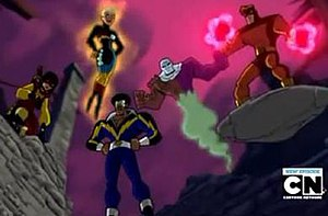 Outsiders (comics) - The assembled Outsiders in the second series of Batman: The Brave and the Bold (from left to right: Katana, Halo, Black Lightning, Metamorpho, and Geo-Force).