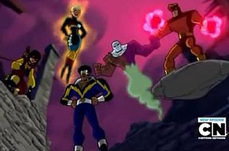Outsiders (comics) - The assembled Outsiders in the second season of Batman: The Brave and the Bold (from left to right: Katana, Halo, Black Lightning, Metamorpho, and Geo-Force).