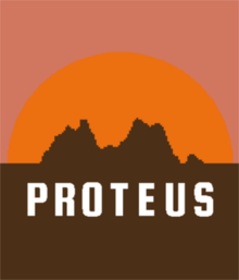 Pixelated hills are silhouetted against an orange sunset. The word Proteus is written in white.