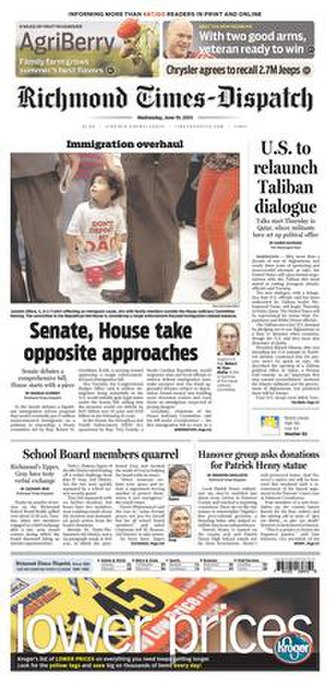 Richmond Times-Dispatch - Image: Richmond Times Dispatch front page