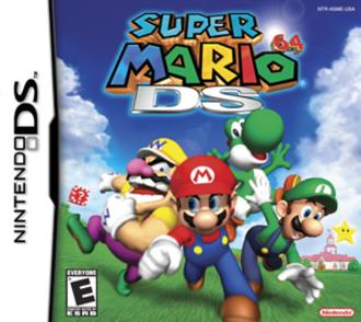 Super Mario 64 DS - North American box art, depicting Wario, Mario, Yoshi, and Luigi