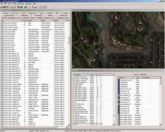 The Elder Scrolls III: Morrowind - A screenshot of The Elder Scrolls Construction Set for The Elder Scrolls III: Morrowind, demonstrating the utility's automated cell and object lists.
