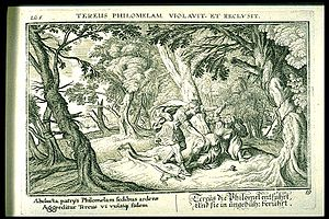 "Philomela - ""The Rape of Philomela by Tereus"", book 6, plate 59. Engraved by Johann Wilhelm Baur for a 1703 edition of Ovid's Metamorphoses"