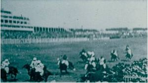 Sir Visto -  The 1895 Derby was one of the first to be filmed. Sir Visto is the horse exiting the bottom left corner of the frame.