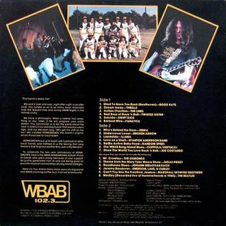 """WBAB Homegrown Album - A scan of the back cover of the """"WBAB Homegrown Album"""" from 1981."""