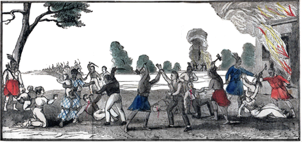 A contemporaneous depiction of the New River Massacre in 1836 William Cooley Attack+Cleaned.png