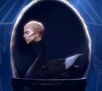 "Applause (Lady Gaga song) - A scene from the music video of ""Applause"", showing Gaga's head superimposed on a swan neck. Chris Rovzar of Vanity Fair compared such scenes to a photo shoot for Interview."