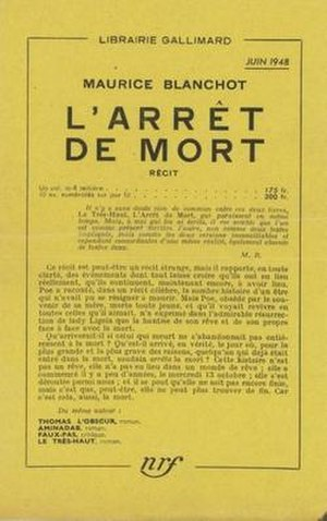 L'Arrêt de mort - Cover of 1948 French Edition.