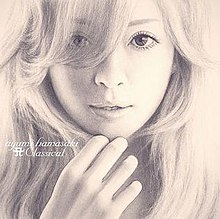 "A black and white sketch of Ayumi Hamasaki up close. On the lower left side is written ""ayumi hamasaki"", and under it ""A Classical""."
