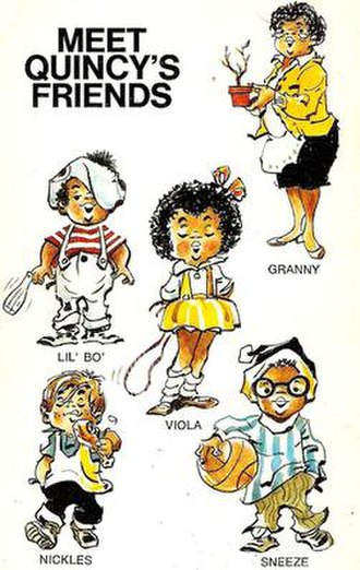 Quincy (comic strip) - The characters, from back cover of the collection Quincy (Bantam, 1972)