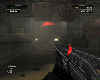 Black (video game) - The player, armed with the SPAS-12, faces multiple enemies on the Naszran Foundry chapter.  The red crescents in the center of the screen indicate that he is taking damage from multiple angles.