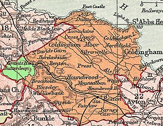 Coldingham - Parish of Coldingham (part formerly in Oldhamstocks shown in green)