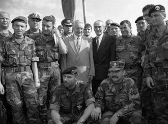 Operation Storm - Tuđman and Šušak visiting Knin Fortress on 6 August. Officers in the photo include Lieutenant General Gotovina and Brigadiers Ivan Korade and Damir Krstičević (commanders of the 7th and 4th Guards Brigades) on Tuđman's right, and Brigadiers Rahim Ademi and Ante Kotromanović on Šušak's left.