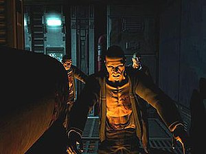 Id Tech 4 - The shadowing effects of the unified lighting and shadowing engine are shown on the face and body of the zombies in this screenshot of Doom 3