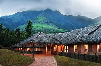 Banasura Hill Resort - The resort seen against the backdrop of the Banasura Hill, from which it derives its name.