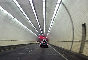 George Wallace Tunnel - Inside of the tunnel, westbound lane.