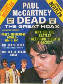 "Cover of a 1969 magazine entitled ""Paul McCartney Dead The Great Hoax'"