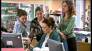 Green Wing - The human resources characters in Green Wing. From left to right, Kim (Bretton), Rachel (Lyons), Harriet (Colman) and Karen (Raikes).