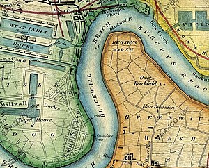 Map c1872 showing Greenwich Peninsula and part...