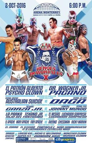 Héroes Inmortales X - AAA's official poster for the show