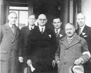 George Ashmore Fitch - Nanking Safety Zone International Committee, left to right: Ernest H. Forster, Lewis Strong, John H.D. Rabe, Lewis Strong Casey Smythe, Eduard Sperling, George Ashmore Fitch