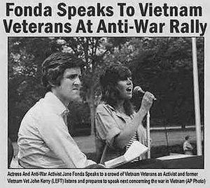 Kerry Fonda 2004 election photo controversy - Composite of two different images: one of Kerry taken on June 13, 1971 and one of Jane Fonda taken in August, 1972