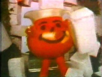 Kool-Aid Man - Kool-Aid Man making his trademark entrance in a 1978 Kool-Aid commercial saying his catchphrase.
