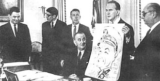 National Cartoonists Society - During the 1960s, cartoonists of military comic strips visited the White House. L to r: Bill Mauldin, Don Sherwood, Mort Walker, Lyndon B. Johnson, Milton Caniff and George Wunder.